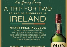 Win Trip for 2 Two to Ireland Giveaway Jameson & My Fathers MoustacheAny and every Jameson Purchase is automatically eligible for one (1) regular entry